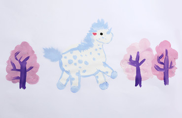 Colorful children painting of beautiful unicorn on white background