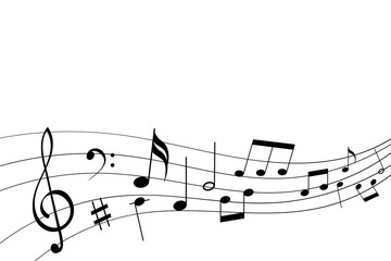 Abstract musical symbols on note staff