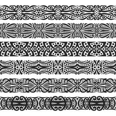 Vector set of black seamless borders, 6 decorative repeat ribbons of oriental style, design elements for create frames, ornate tape decorations with arabic ornament on white background.
