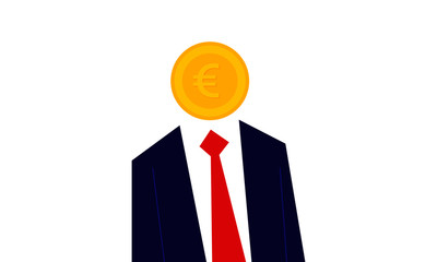 Man with a Money as a head. Vector illustration of euro currency coin person. You are what you eat. Money man concept.