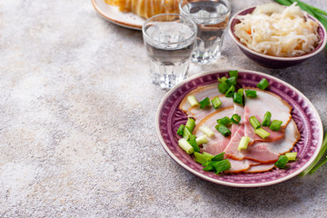 Appetizers for vodka, bacon and sauerkraut