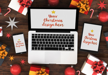 Mobile Devices and Laptop on Table with Gifts Mockup