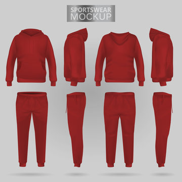 Mockup of the red sportswear hoodie and trousers in four dimensions: front, side and back view, realistic gradient mesh vector. Clothes for sport and urban style