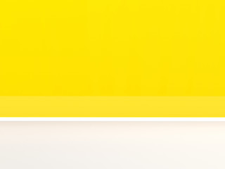 Yellow wall and white floor. 3D rendering