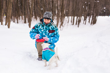 Jack Russell Terrier dog with owner woman playing in the winter outdoors.