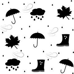 White background. Autumn. Elements, rubber boots, umbrella, cloud rain wind drop maple leaf