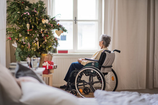 A rear view of a senior woman in wheelchair at home at Christmas time.