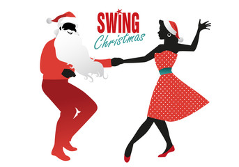 Christmas couple dancing swing, rock or lindy hop. Man dressed as Santa Claus and beautiful girl wearing Christmas clothes dancing retro music.