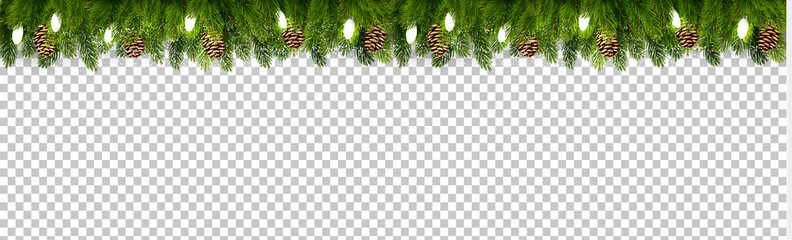 Christmas holiday decoration with branches of tree and garland on transparent background. Vector.