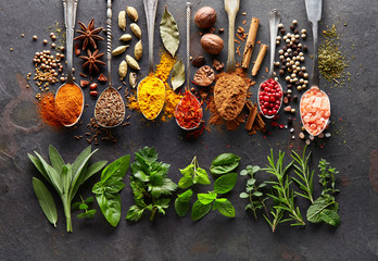 Canvas Prints Spices Spices and herbs on black board