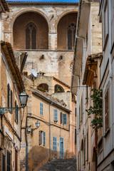 streetscape with parish church Transfiguració del Senyor, Artà, Mallorca, Balearic Islands, Spain