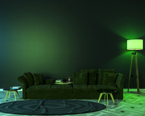 Night interior with green colored lights