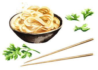 Noodles in the bowl set. Watercolor hand drawn illustration isolated on white background