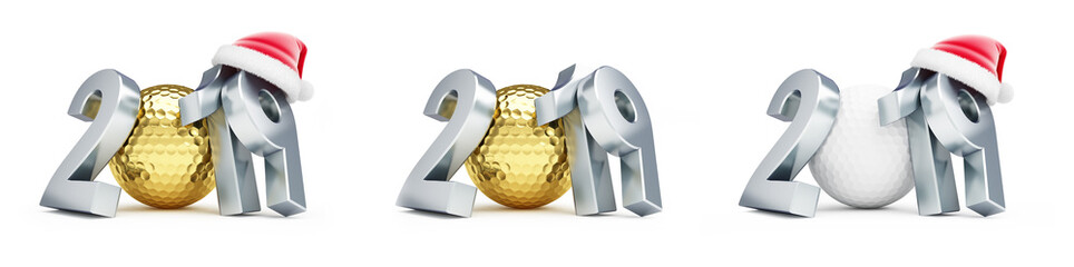 gold golf ball 2019 new year santa hat on a white background 3D illustration, 3D rendering