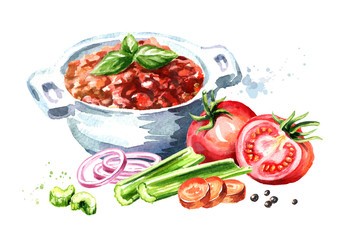 Sauce bolognese in bowl and ripe tomatoes. Watercolor hand drawn illustration isolated on white background