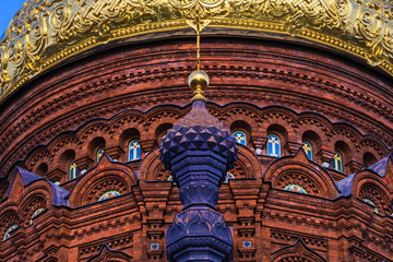 Traditional onion of the Orthodox Church. Church of the Epiphany on Gutuevsky island in St. Petersburg.
