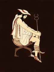 Hermes or Mercury seated thoughtful with caduceus and winged sandals, based on ancient greek pottery and ceramics red-figure drawings