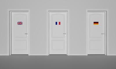 3d rendering of three doors