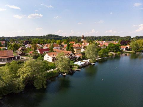 Drohnen Luftaufnahme von Weßling und Weßlinger See