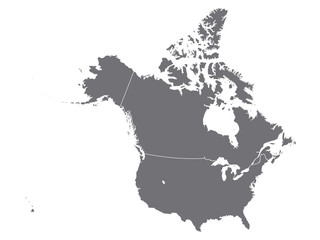 gray map of north america