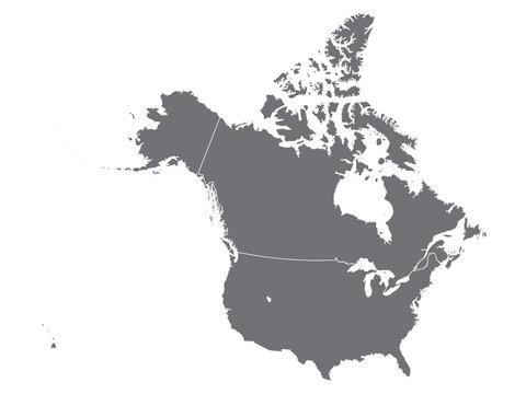 gray map of north america
