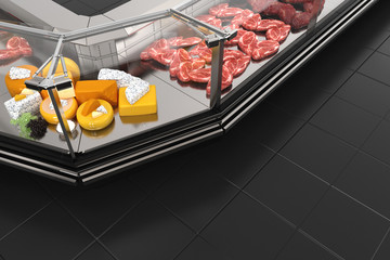 Black display case with meat and cheeses. 3d illustration.