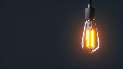 Eine einzelne leuchtende Edison Glühlampe hängt in einem dunklen Raum von der Decke