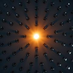 Eine leuchtende Edison Glühlampe umringt von vielen nicht leuchtenden Glühlampen