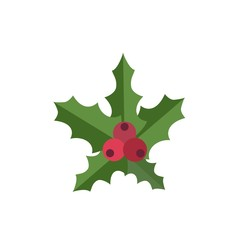 Christmas red berry icon. Flat illustration of christmas red berry vector icon for web design
