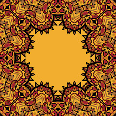 Oriental mandala frame border for text. Copyspace in the center. Vintage design elements.