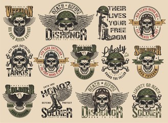 Vintage colorful military labels set