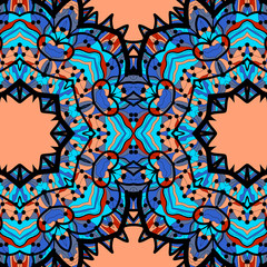 Half-full mandala in blue color over orange background.