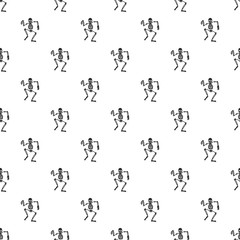Dancing skeleton pattern seamless repeat background for any web design
