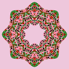 Pink and green mandala motif. Ornate unusual design in tribal style.Multicolor kaleidoskopic design