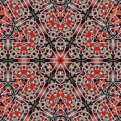 Seamless vintage mandala wallpaper. Vector ornament for fabric textile. Purple kaleidoskopic design