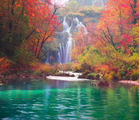 Stores photo Cascade Plitvice waterfalls in the fall