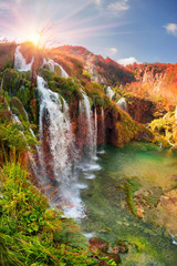 Tuinposter Watervallen Plitvice waterfalls in the fall