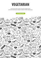 Go vegan. Healthy food. Vegetarian banner. Hand-draw doodle background. Vector illustration.