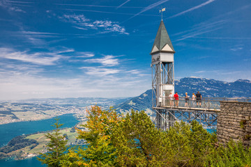 Hammetschwand elevator in Alps near Burgenstock with the view of Swiss Alps and Lucerne lake, Switzerland, Europe.