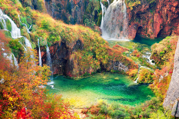 Foto auf AluDibond Wasserfalle Plitvice waterfalls in the fall