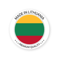 Modern vector Made in Lithuania label isolated on white background, simple sticker with Lithuanian colors, premium quality stamp design, flag of Lithuania