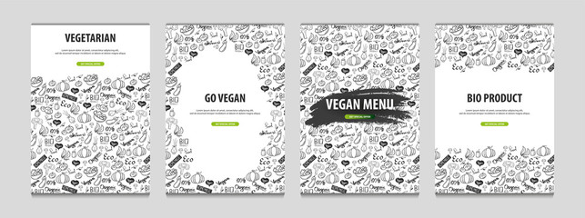 Set of Vegetarian banners. Hand-draw doodle background. Vector illustration.