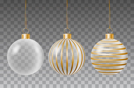 Vector set of glass transparent christmas decorative baubles with golden ribbon stripes hanging on string