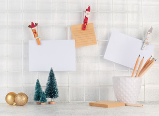 Christmas mood board with empty cards on it