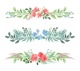 Vector set of decorative floral romantic borders for card or invitation in watercolor style on white background