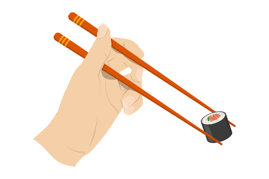 Hand holding asian chinese couple of chopstick