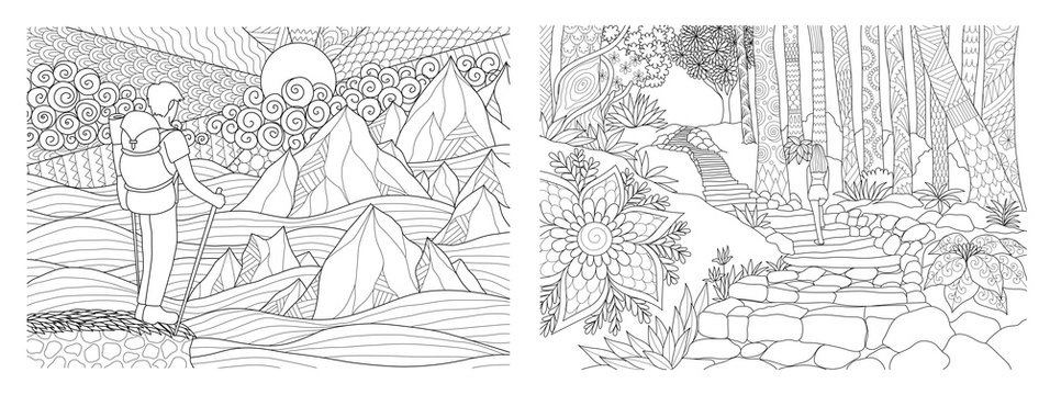 Travelling in nature adult coloring pages collection. Vector illustration