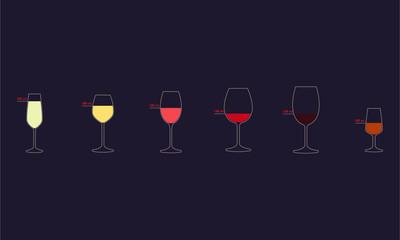 Wine glasses set of icons