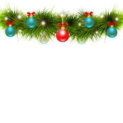Christmas garland, balls,red bows, on a white