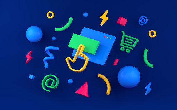 Abstract colored geometric shapes for web design. 3d render